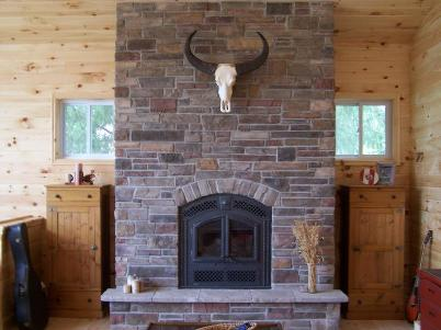 Culture Stone Fireplace with Skull